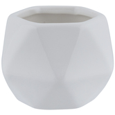 White Faceted Hexagon Pot