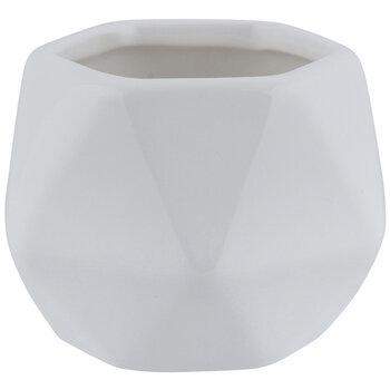 White Faceted Hexagon Pot
