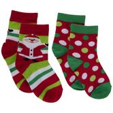 Red, Green & White Santa Crew Socks