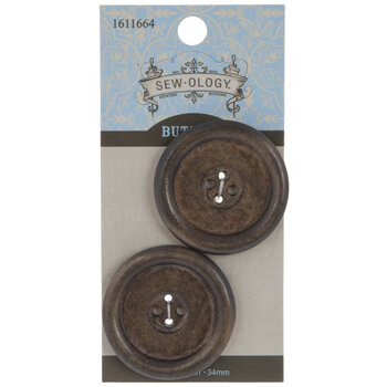 Brown Wood Buttons - 34mm