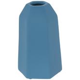 Matte Blue Geometric Vase