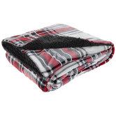 Red & Gray Tartan Plaid Sherpa Throw Blanket