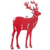 Flat Red Reindeer Ornament
