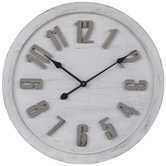 Round Whitewash Wood Wall Clock