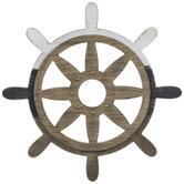 Ship Wheel Distressed Wood Wall Decor