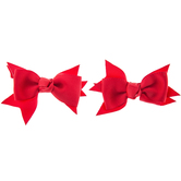 Red Grosgrain Bow Hair Clips - Small