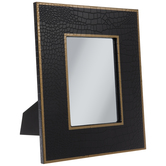 Black & Gold Alligator Wood Mirror