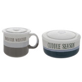 Sweater Weather Striped Soup Bowl & Mug With Lids