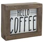 Hello Coffee Wood Decor