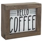Hello Coffee Wood Decor