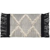 Cream & Black Woven Fringe Rug