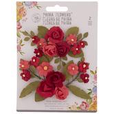 Red Bloom Prima Flower Embellishments