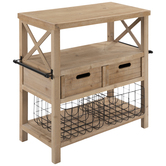 Wood Table With Drawers & Baskets