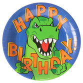 Happy Birthday T-Rex Paper Plates - Large
