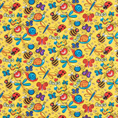 Happy Bugs Cotton Calico Fabric