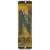License Plate Letter Metal Sign