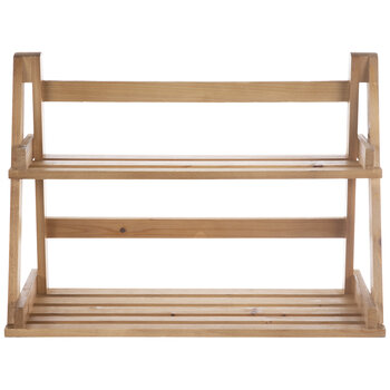 Slatted Two-Tiered Wood Wall Shelf
