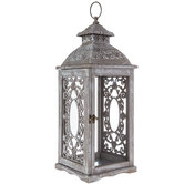 Gray & White Distressed Scroll Wood Lantern