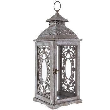 Gray & White Distressed Scroll Wood Lantern