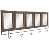 Panel Mirror Wood Wall Decor With Hooks