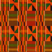Orange Patterned Kente Fabric