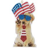 Patriotic Dog Wearing Sunglasses Ornament