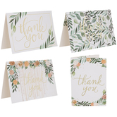 Pink & Gold Floral Thank You Cards