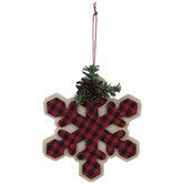 Red & Black Buffalo Check Snowflake Ornament
