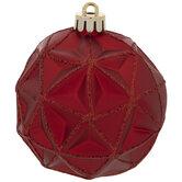 Red Matte Glitter Geometric Ball Ornaments