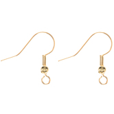 18K Gold Plated Short Fish Hook Ear Wires - 21mm