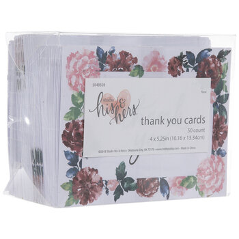 Pink, Red & Navy Floral Thank You Cards