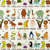 ABC Animals Cotton Calico Fabric