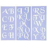 "Uppercase Simple Script Alphabet Stencils - 3"""