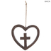 Textured Wood Wall Cross In Heart