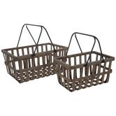 Dark Brown & Black Wood Basket Set