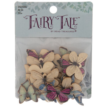 Pink & Blue Wood Butterfly Charms