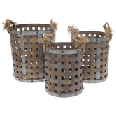 Brown Tall Round Wood Basket Set