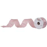 "Light Pink Crinkled Single-Face Satin Ribbon - 1 1/2"""