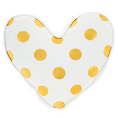 White & Gold Polka Dot Heart Pillow