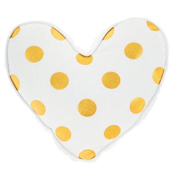 White & Gold Polka Dot Heart Pillow