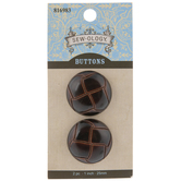 Brown Faux Leather Woven Shank Buttons - 25mm