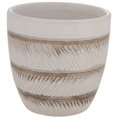 Cream & Brown Striped Flower Pot