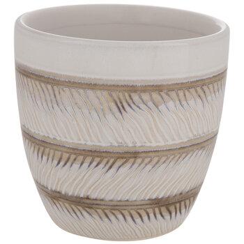 Cream & Brown Striped Flower Pot