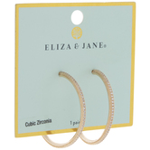 Thin Cubic Zirconia Hoop Earrings