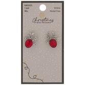 Red Reindeer Rhinestone Earrings
