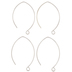 Sterling Silver Plated Marquise Ear Wires - 35mm