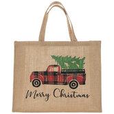 Merry Christmas Truck Burlap Tote Bag