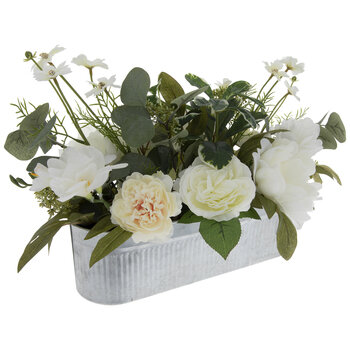 White Peony Arrangement In Metal Planter