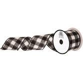 """Black & White Buffalo Check Felt Ribbon - 2 1/2"""""""