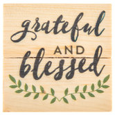 Grateful & Blessed Wood Magnet